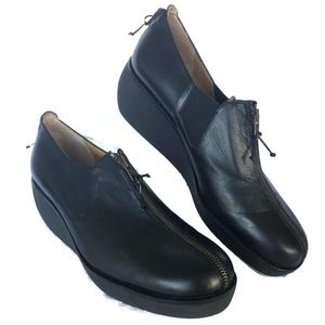 NEW Womens Wedge Heel Loafer 11.5 M Black Leather